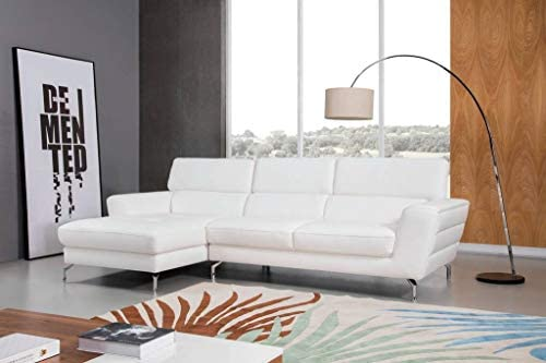 Best Greatime S2203 Top Grain Genuine Leather Sectional Sofa, White, Left Facing Chaise