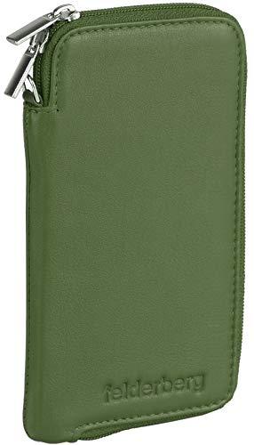 felderberg Handytasche aus feinstem Echt-Leder mit Reißverschluss und Handschlaufe, für die meisten 5 Zoll(max. 5,8 Zoll) Smartphones (mit Bumper oder dünner Schutzhülle) geeignet (Grün/Modell 2018)
