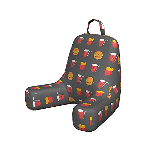 Ambesonne Snack Bar Reading Pillow Cover, Repetitive Pattern of French Fries Burgers and Cola Smiling Tasty Fast Food, Unstuffed Printed Bed Rest Case from Soft Fabric, Small, Grey Multicolor