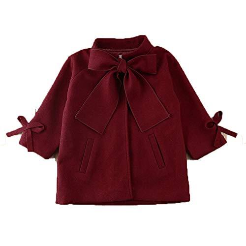 OneCherry sweater New Winter Autumn Toddler Kids Baby Girls Coat Warm Wool Bowknot Trench Coat Overcoat Girls Kids Long Sleeve Outwear Jacket Red 6
