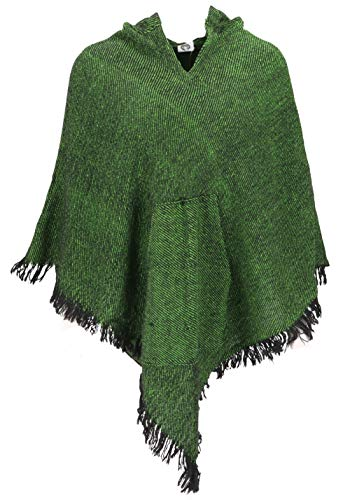 GURU SHOP Poncho Hippie Chic mit Zipfelkapuze, Pixi Poncho, Damen, Grün, Synthetisch, Size:40, Jacken, Mäntel & Ponchos Alternative Bekleidung