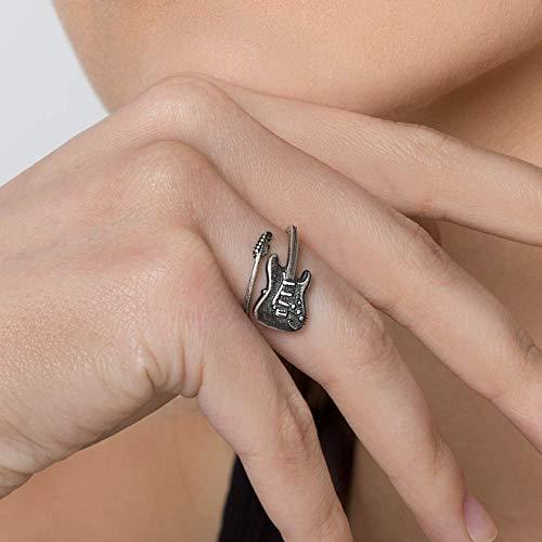 Anillo de plata esterlina 925 para mujer anillo de regalo para mujer anillo de guitarra eléctrica anillo de música anillo de metal pesado anillo de rock anillo de música anillo punk