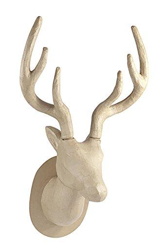 Décopatch NO032C Trophäe Hirsch (aus Pappmaché zum Verzieren und Personalisieren, 63 cm, ideal für Ihre Hausdeko) 1 Stück kartonbraun