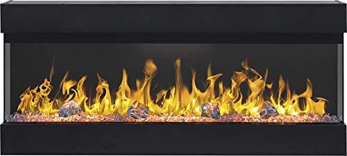 Elektrokamin Imperial 50 | Dreiseitiger Wandkamin | Elektrischer Kamin (750 W oder 1500 W) | LED Feuersimulation