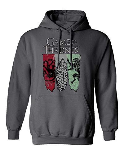 Allforenjoy Herren Sigil Banner of Thrones Stark Lannister Fashion Print Kapuzenpullover mit Kapuze
