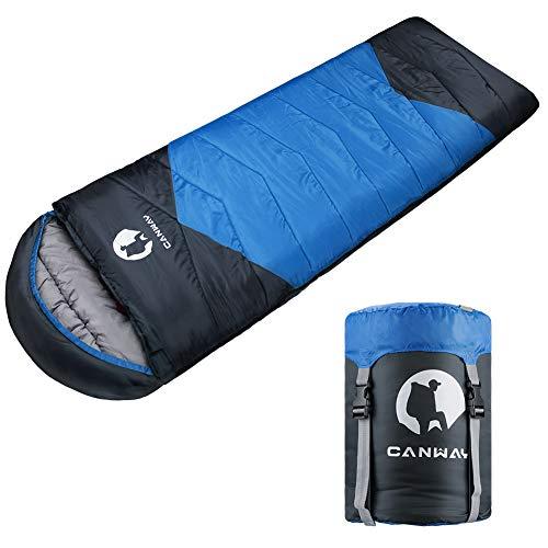CANWAY Schlafsack Sommerschlafsack Deckenschlafsäcke Mumienschlafsack aus Baumwolle als Füllstoff wasserabweisend für Camping Indoor Outdoor Erwachsene 1,9KG (Blau-Polyester)