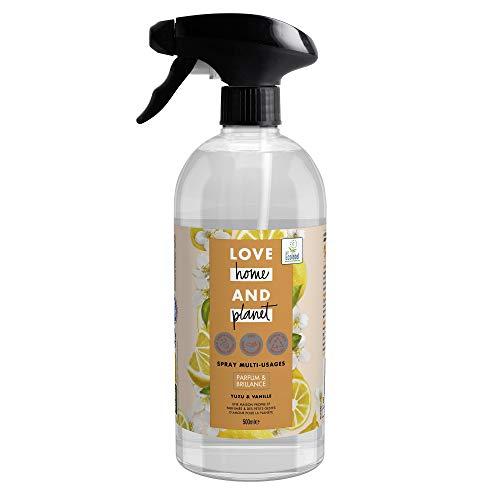 Love Home and Planet Spray Nettoyant Multi-Usages, Parfum Yuzu & Vanille, Fraîcheur, 84% d'ingrédients d'origine naturelle, 500ml
