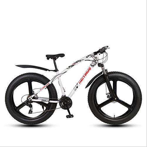 DGAGD 26 inch Off-Road Beach Snowmobile Super Wide 4.0 Big tire Mountain Bike Three-Knife Wheel-White_21 Speed