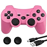 Bek Controller Replacement for PS3 Controller, Wireless Remote Gamepad with Thumb Grips,Double Shock Vibration,Motion Sensors,Rechargeable Battery Compatible with Sony Playstation 3 (Pink)