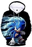 HAOSHENG Niñas y Niños Sonic The Hedgehog Sudadera Impresión Streetwear Linda de Moda Jersey Manga Larga con Capucha(2XS)