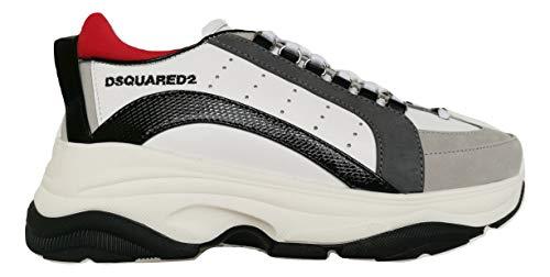 Dsquared Bumpy 551 SNM0091 01503046 M072 - Zapatillas de piel para hombre, color blanco, negro, rojo y gris Blanco Size: 39 EU Larga