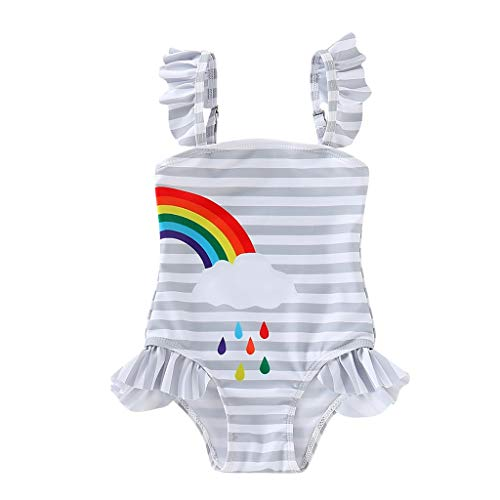 Baby Toddler Girl Bikini Sets Swimsuit for 1-5 Years Old Kid Stripe Rainbow One Piece Bathing Suit Romper Clothes (12-18 Months, Gray)