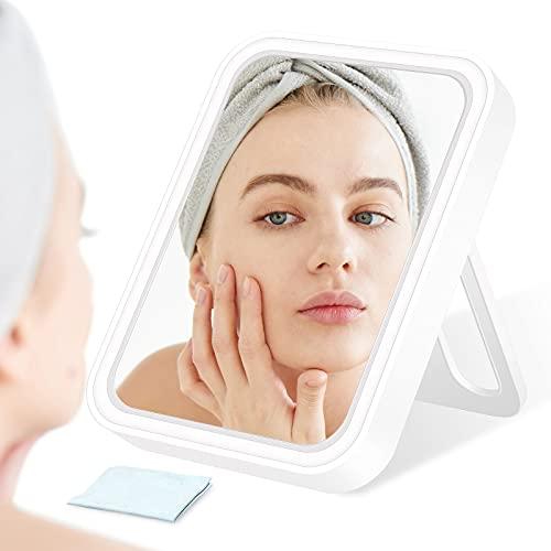 Espejo maquillaje con luz, Mini espejo maquillaje portátil, Angulo Ajustable 75 °, 3 colores, 3 brillos, Espejo con botón táctil, Apto para uso doméstico, Viajes