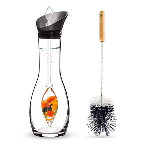 Vitajuwel Happiness Edelsteinwasserset für Zuhause (Karaffe Era & Phiole & Reinigungsbürste) mit Jade, Orangencalzit, Karneol & Bergkristall