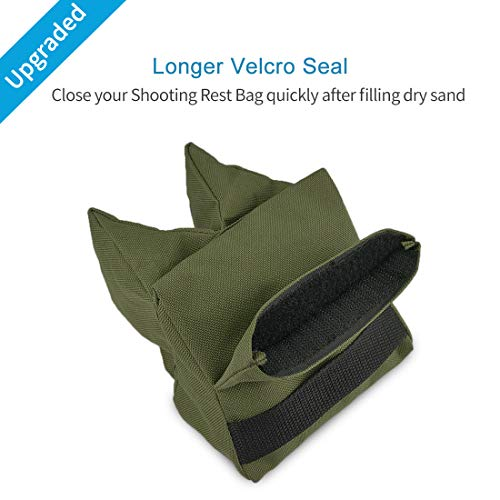 TWOD Outdoor Shooting Rest Bags Target Sports Shooting Bench Rest Front & Rear Support SandBag Stand Holders for Gun Rifle Shooting Hunting Photography - Unfilled-Army Green