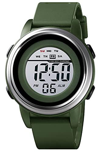 Relojes Hombre Digital Deportivos Militares Relojes de Pulsera con Impermeable 50M Calendario LED Alarma Cronómetro Reloj Banda de Silicona Verde para Hombre