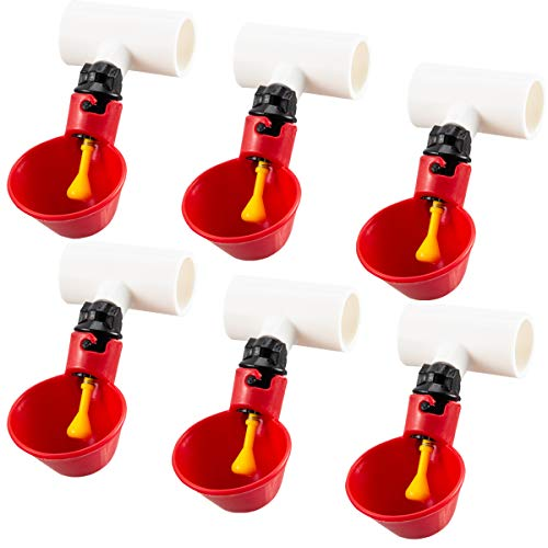 MEWTOGO Automatic Poultry Drinking Cups-6 Pack Chicken Waterer Drinking Cups and 6 Pack Chicken Waterer PVC Tee Fittings for Chicken Quail Duck