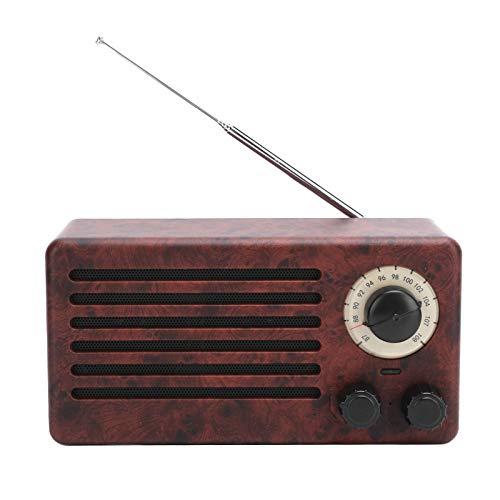 PUSOKEI Mini Altavoz Bluetooth, Altavoces pequeños con Sonido Envolvente estéreo, Radio FM con subwoofer portátil, Tarjeta de Memoria Compatible, Disco U, AUX(Veta de Madera de melocotón)