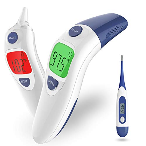 Thermometer for Adults, Galirity Non Contact Infrared Forehead and Ear Thermometer, Accurate Digital Thermometer with Fever Alarm Function for Kids Baby Elders Children, Work Home Outside Use (Gray)
