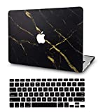 LuvCase2in1Laptop Case Compatible withMacBookPro 15' Retina Display (2015/2014/2013/2012) A1398 (NO CD Drive)RubberizedPlasticHardShell Cover &KeyboardCover(Black Gold Marble)