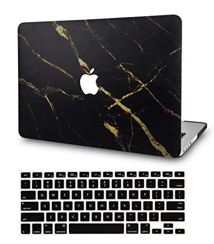 LuvCase 2 in 1 Laptop Case for MacBook Air 13 Inch (2018-2020) (Touch ID) A1932 Retina Display Rubberized Plastic Hard Shell Cover & Keyboard Cover (Black Gold Marble)