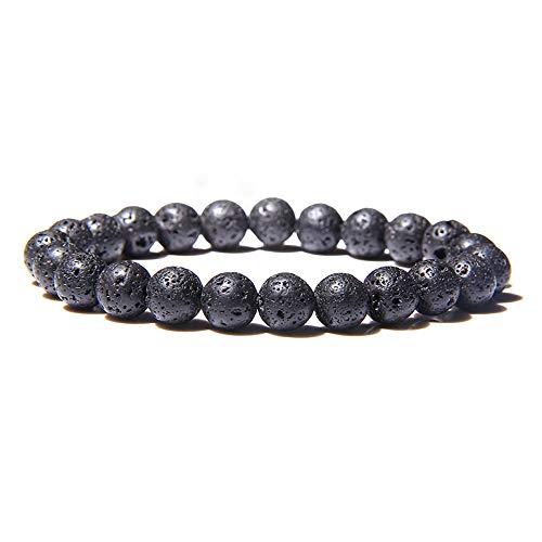 Zense ZB0341 - Pulsera ajustable para hombre, perlas negras de lava volcánica