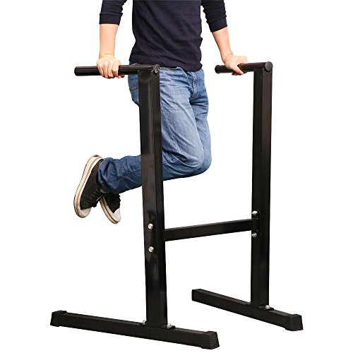Yaheetech Dip Station Stand Chest Tricep Exercise Workout Station Pull-up Dipping Bars Black