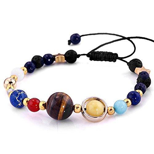 YEYULIN Handmade Galaxy Solar System Bracelet Universe Eight Planets Star Natural Stone Beads Bracelets Bangles