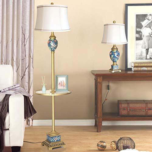 QTDH staande lamp met bijzettafel, klassieke kunst afstandsbediening, leeslamp, hoge paal, verlichting voor woonkamer en kantoor