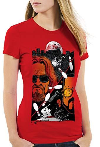 style3 The Dude Damen T-Shirt Lebowski Bowling Bowler Big Rude, Farbe:Rot, Größe:M