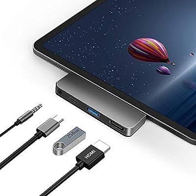 "USB C Hub Adapter for iPad Pro Accessories 2018 2020 12.9"" 11"", JoyGeek Type C Adaptor Dongle Docking Station with HDMI Connector, 3.5mm Headphone Jack, USB-C PD Charging, USB 3.0 Port by JoyGeek"