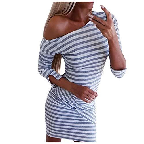 Goosuny Damen Kleid Gestreift Rundhals Halbarm Etuikleid Freizeitkleid Enge Bodycon Kleid Knielang Frauen Shirtkleid Partykleid Frühling Herbst