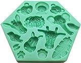 hwljxn Silikon Fondant Kuchenform 3D Wald Tiere Schimmel DIY Seife Geleeeis Kuchen Schokolade Süße Formen Silikon Backformen Dekorieren Werkzeuge