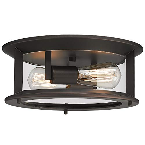 Emliviar Ceiling Light Fixture 12 Inch, Farmhouse Flush Mount Ceiling Light with Clear Glass in Oil Rubbed Bronze Finish, YE19108-F1 ORB