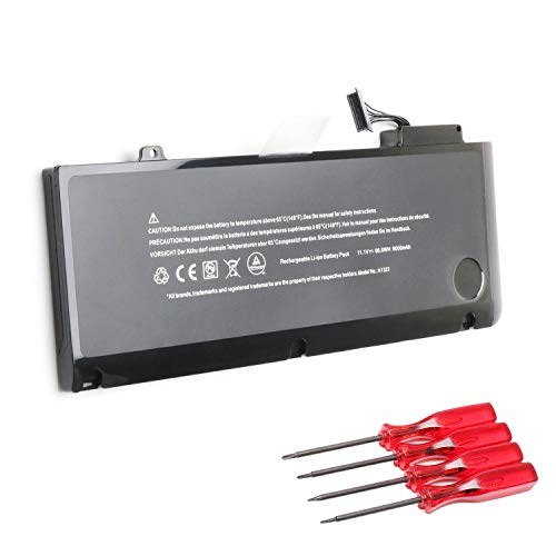 A1322 Battery for MacBook Pro 13'' A1278 (Mid 2009, Mid 2010, Early and Late 2011, Mid 2012 Version) MB990LL/A MC374LL/A MC700LL/A MD314LL/A, Four Screwdrivers - [66.6Wh/6000mAh]