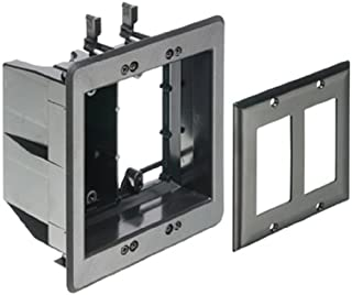 Arlington TVBU505BL-1 Recessed TV Outlet Box with Paintable Trim Plate, Black, 2-Gang