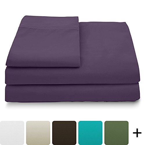 Cosy House Collection Luxury Bamboo Bed Sheet Set - Hypoallergenic Bedding Blend from Natural Bamboo Fiber - Resists Wrinkles - 4 Piece - 1 Fitted Sheet, 1 Flat, 2 Pillowcases - Queen, Purple