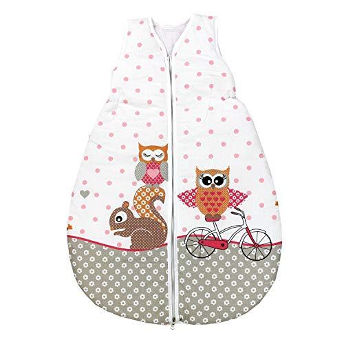 TupTam Unisex Baby Schlafsack ohne Ärmel Wattiert, Farbe: Eulen 2 Rosa, Größe: 62-74
