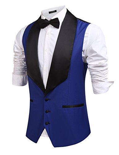 Coofandy Men's V-Neck Slim Fit Dress Suits Sleeveless Vest Waistcoat,Type2: Royal Blue,XX-Large