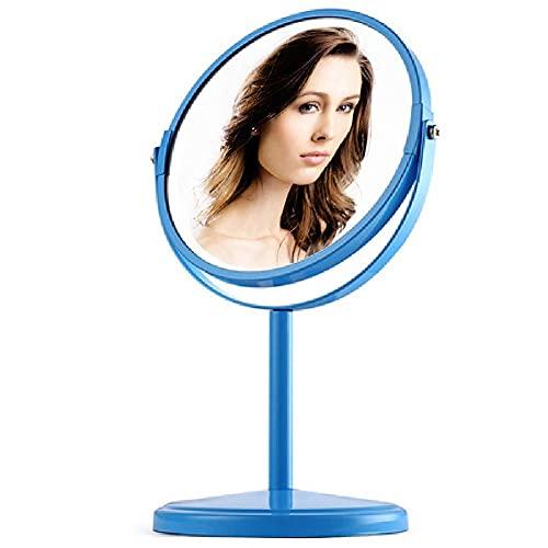 Linjolly Freestanding Cosmetic Mirror 3X Ampliación,Maquillaje Espejo Espejo de Mesa de Pedestal for Dormitorio de baño,Espejo de Afeitado Espejo de tocador 360°rotatable Doble Cara Cromo,d