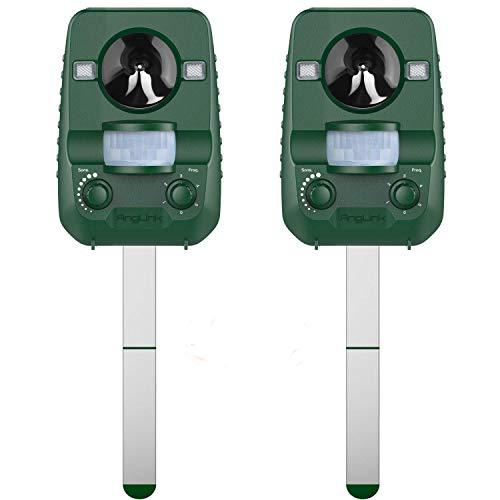 AngLink 2 x Repelente de Gatos, Repelente Ultrasónico para Animales, para Exterior, Resistente al Agua. Detector de Perros, Gatos, etc con estaca (Palo) para Tierra, Jardine