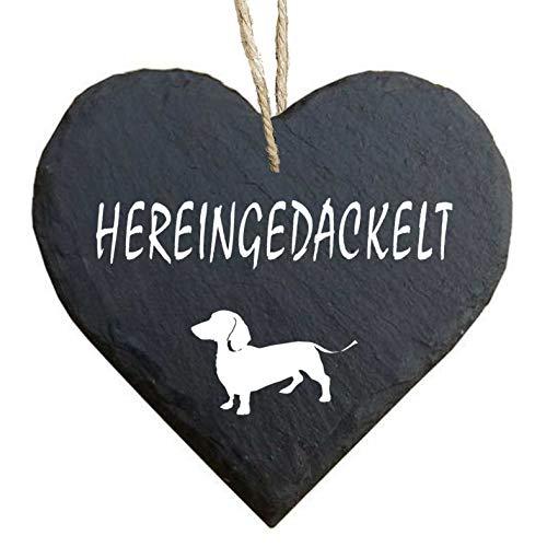 Homeyourself Herz Schieferherz Schiefer Schieferschild 10 x 10 cm Hereingedackelt schwarz Dekoschild Wandschild Schild Stein Willkommen