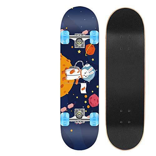 ZASX Tabla Completa de Skate de 31 x 8 Pulgadas, con rodamientos de Bolas ABEC-7,Conejo espacialMadera de Arce de 8 Capas Adecuada para niños, Adolescentes y Adultos, con un Peso de 150 kg.