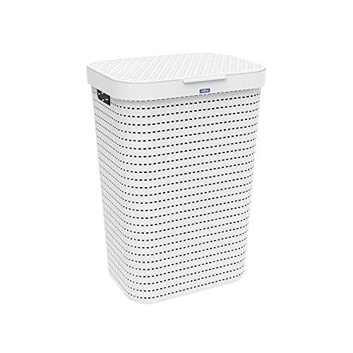 Rotho Country Panier à linge 55l avec couvercle en rotin, Plastique (PP) sans BPA, blanc, 55l (42.0 x 32.2 x 57.7 cm)