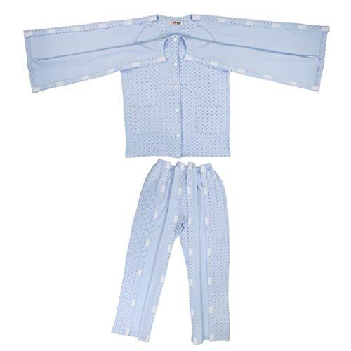 Fenteer Abnehmbar Pflegekleidung Pflegehemd Krankenhemd Patientenhemd Inkontinenzhilfsmittel aus Baumwolle - XXL