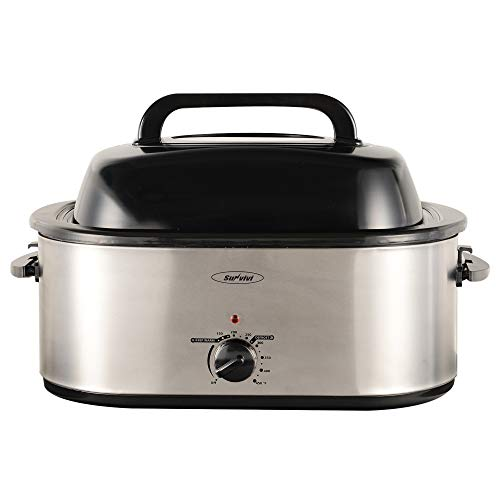 24 Quart Electric Turkey Roaster Oven with Glass Lid, Electric Roaster Oven with Self-Basting Lid, Full-range Temperature Control and Cool-Touch Handles, Silver Body and Black Lid