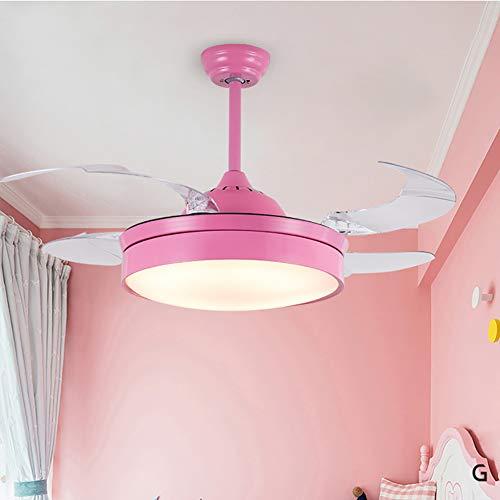 Habitación de los niños ventilador invisible araña ventilador eléctrico luz 36 pulgadas / 42 pulgadas ventilador de techo araña, techo de hadas ventilador de techo, niño y niña dormitorio-Pink-