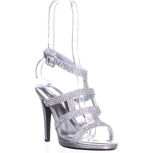 Caparros Elyzabeth Strappy Rhinestone Evening Sandals, Silver Metallic, 10 US