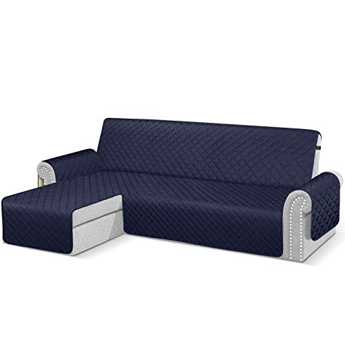 TAOCOCO Copridivano con Penisola Impermeabile BRACCIOLO Sinistra Divano Protector Slipcovers Blu Scuro 3 Posti+3Posti (Visto di Fronte)