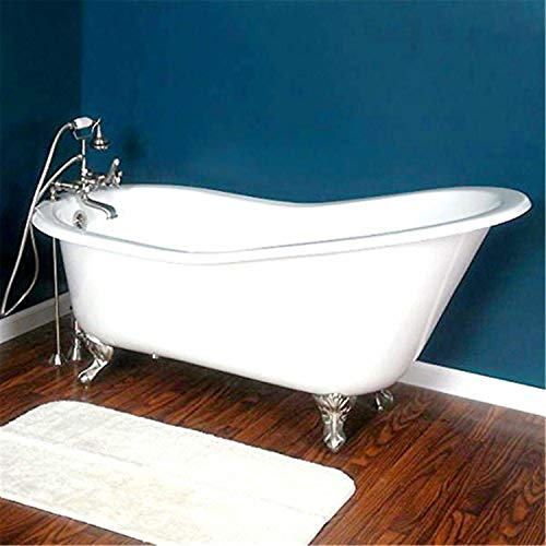 Cambridge Plumbing Cast Iron Slipper Clawfoot Tub 61' X 30' with No Faucet Drillings and Polished Chrome Feet